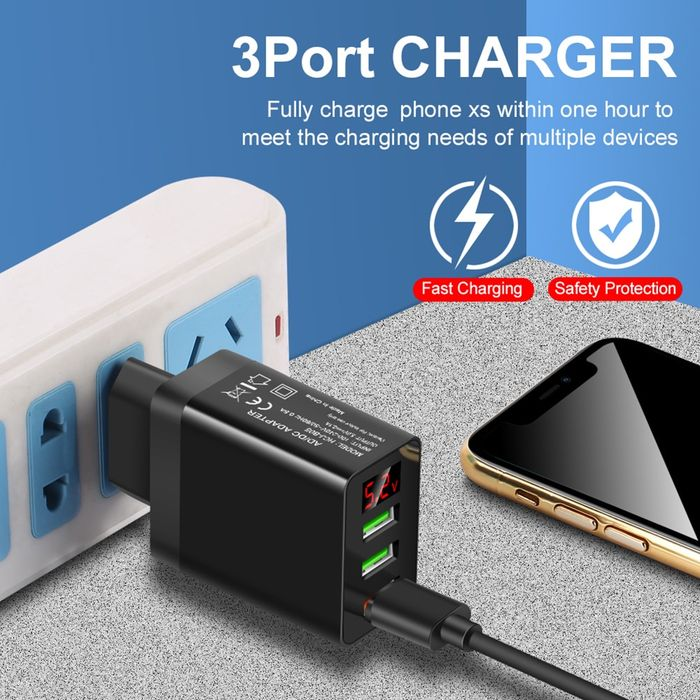 Q7 EU US UK Plug3 USB  Light Effect Quick Charge for iPhone Mobile Phone QC 3.0 Fast Digital Display Wall Chargers Power Adapter