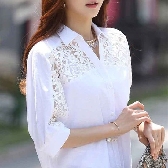 Women's Fashion Hollow Out Blouse Loose Casual V Neck Blouses New Fashion Solid Color Shirt