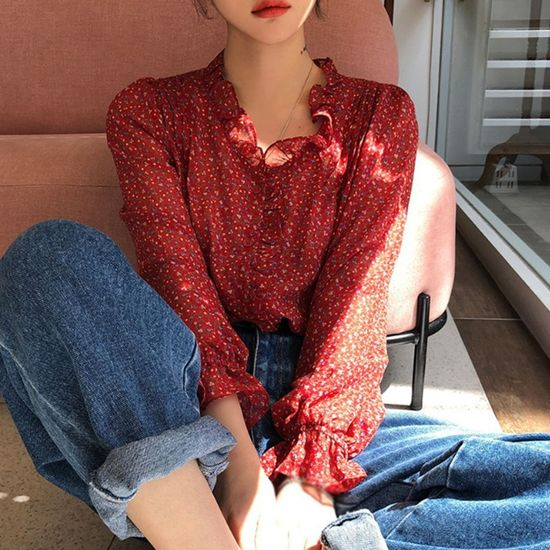 Women Blouses Shirts Floral Print Chiffon Shirts V-Neck Tops Sweet Flare Sleeve Blouse Long-sleeved Clothes Tops
