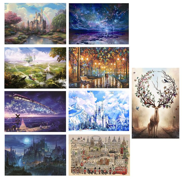 1000pcs Painting Puzzle DIY Paper Jigsaw Puzzles Sets Building Views Kids Adults Educational Puzzle Gift  for Family Cardboard