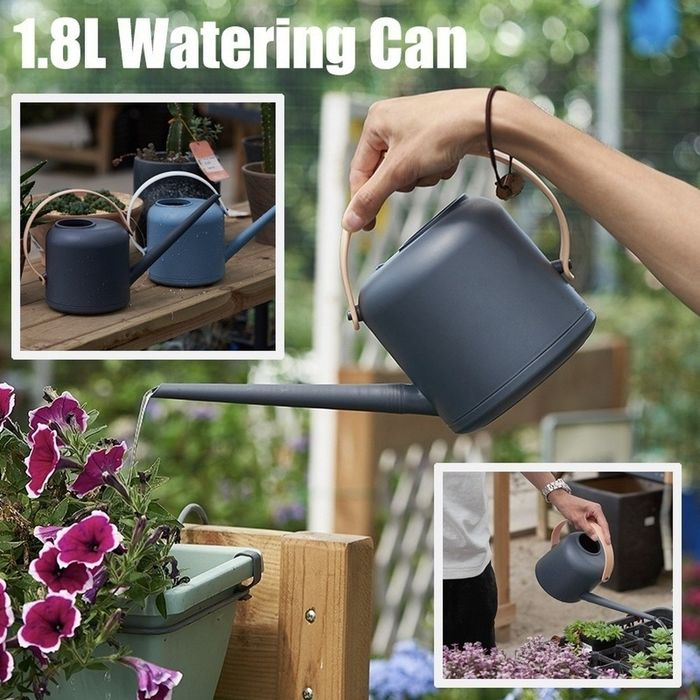 1.8L Long Narrow Spout Plastic Watering Can Home Plant Pot Watering Container Control Water Output Cleaning Gardening Tool