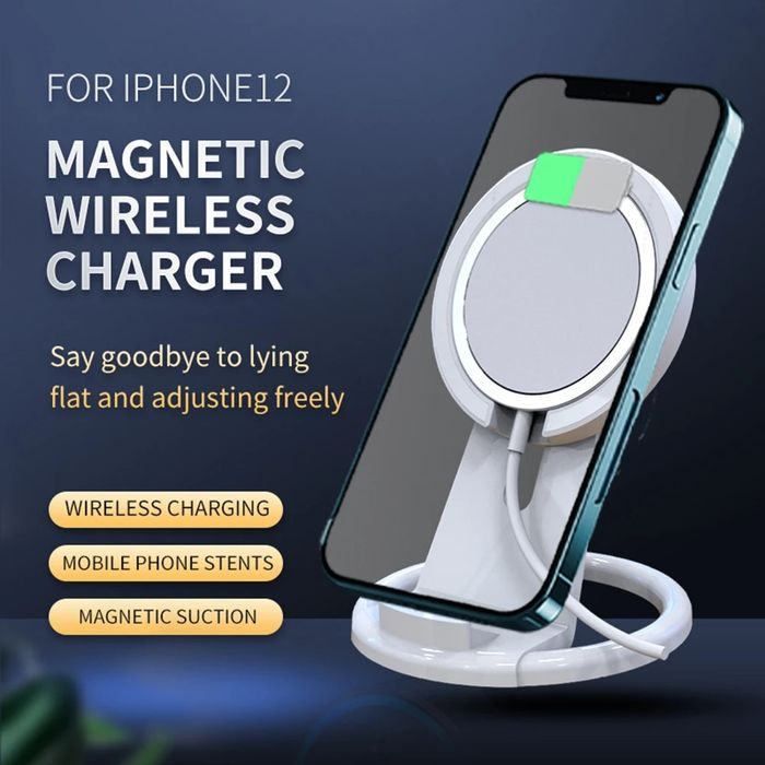 Wireless Charger Stand 15W Qi Magnetic Charger Bracket Desktop for iPhone 12 Smart Phone Fast Charging Pad USB Type-C Adapter